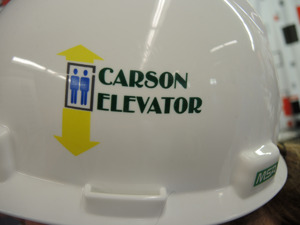 Custom Printed Hard Hat - Carson Elevator