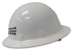 E1 Fibre-Metal full brim white hard hat