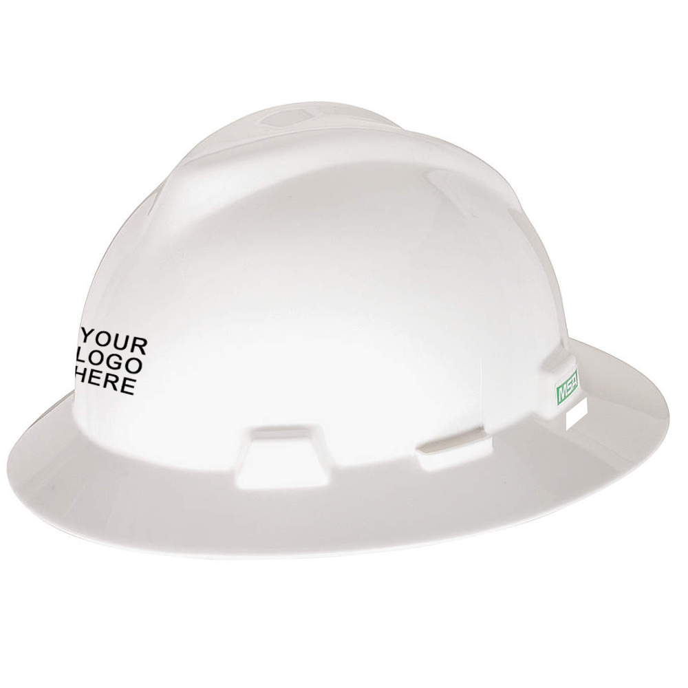 MSA V-Gard full brim white hard hat