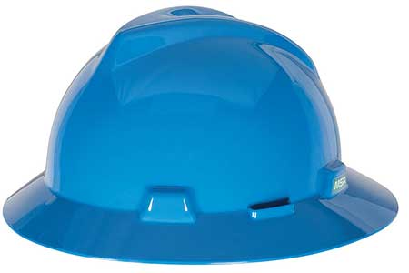 MSA V-Gard full brim hard hat blue