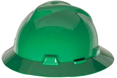 MSA V-Gard full brim hard hat green