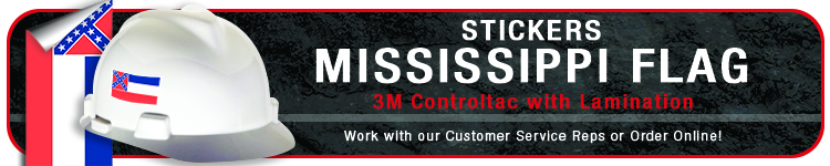 Mississippi State Flag Stickers | CustomHardHats.com