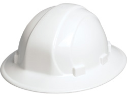 ERB Omega II Full Brim White Hard Hats | Customhardhats.com