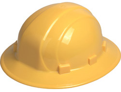 ERB Omega II full brim yellow hard hat