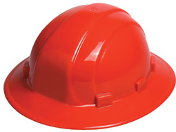 ERB Omega II Full Brim Red Hard Hats | Customhardhats.com