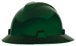 MSA V-Gard® Full Brim Green Hard Hat | Customhardhats.com