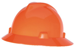 MSA V-Gard Full Brim Hi-Viz Orange Hard Hats | Customhardhats.com