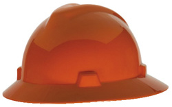 Orange MSA V-Gard full brim hard hat