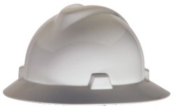 MSA V-Gard® Full Brim White Hard Hat | Customhardhats.com
