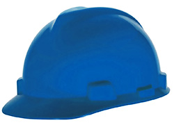 MSA V-Gard blue hard hat