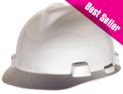 MSA V-Gard® Standard White Hard Hat | Customhardhats.com