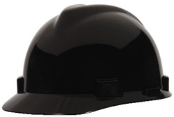 MSA V-Gard® Standard - Black Hard Hat | Customhardhats.com