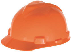 MSA V-Gard hi viz orange hard hat