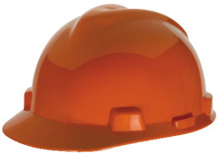 Orange MSA V-Gard standard hard hat