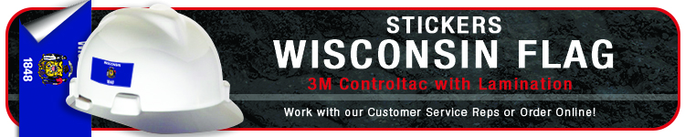 Wisconsin State Flag Sticker | CustomHardHats.com